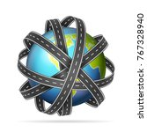 world globe with roads on a... | Shutterstock .eps vector #767328940