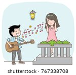 couple cartoon with love song... | Shutterstock .eps vector #767338708
