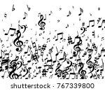 black musical notes flying... | Shutterstock .eps vector #767339800