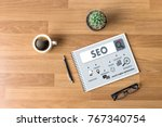 local seo concept business team ... | Shutterstock . vector #767340754