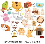 Stock vector pet animal vector set 767341756
