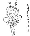 little fairy with a gift... | Shutterstock .eps vector #767344429
