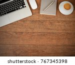 working desk from above | Shutterstock . vector #767345398