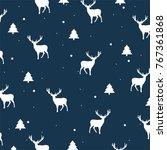 seamless vector winter deers... | Shutterstock .eps vector #767361868