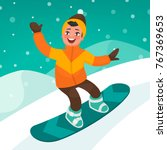 boy skates on a snowboard slope.... | Shutterstock .eps vector #767369653