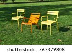 Colorful Metal Chairs In The...