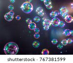 blur soap bubbles colourful... | Shutterstock . vector #767381599