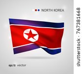 north korea 3d style glowing... | Shutterstock .eps vector #767381668