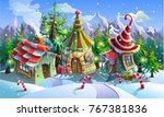 christmas village of santa... | Shutterstock .eps vector #767381836