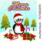 merry christmas poster banner... | Shutterstock .eps vector #767383354