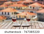two glasses of madeira wine and ... | Shutterstock . vector #767385220