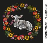 embroidery lamb and wreath of...   Shutterstock .eps vector #767386810