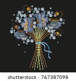 embroidery bouquet of blue...   Shutterstock .eps vector #767387098
