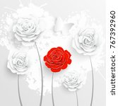 paper flower. white roses are... | Shutterstock .eps vector #767392960