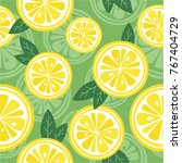 fresh lemons background. hand... | Shutterstock .eps vector #767404729