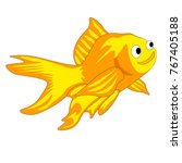 happy goldfish with white... | Shutterstock .eps vector #767405188