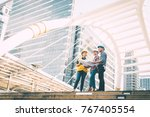group of engineer man and woman ... | Shutterstock . vector #767405554