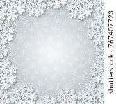 bright winter square frame with ... | Shutterstock .eps vector #767407723
