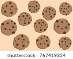 the cookies group on the cream... | Shutterstock .eps vector #767419324