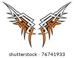 tribal style wings icon tattoo...