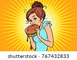 overeating fast food. woman... | Shutterstock .eps vector #767432833