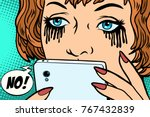 the woman was crying  mascara... | Shutterstock .eps vector #767432839
