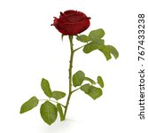 red rose isolated on white. 3d... | Shutterstock . vector #767433238