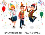 new year bash. people... | Shutterstock . vector #767434963