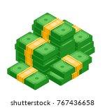isometric pile of cash. pile of ... | Shutterstock .eps vector #767436658
