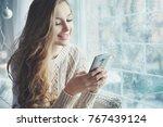 indoor close up portrait of... | Shutterstock . vector #767439124