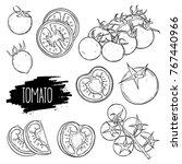 hand drawn tomato set. tomatoes ... | Shutterstock .eps vector #767440966