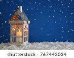 wooden old house with candle... | Shutterstock . vector #767442034