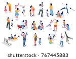 happy hours of kids with dad... | Shutterstock .eps vector #767445883