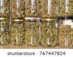 dry and trimmed cannabis buds...   Shutterstock . vector #767447824