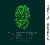 fingerprint scan set with power ... | Shutterstock .eps vector #767449018