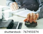 businessman hand working with... | Shutterstock . vector #767453374