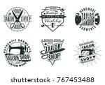 monochrome vintage tailor shop... | Shutterstock .eps vector #767453488