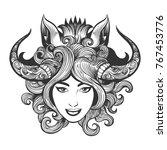 girl face in shaman mask of... | Shutterstock .eps vector #767453776