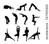 yoga position silhouette | Shutterstock .eps vector #767455303