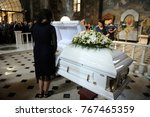 editorial use only. burial... | Shutterstock . vector #767465359