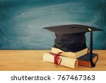 image of graduation black hat... | Shutterstock . vector #767467363