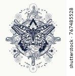 magic butterfly tattoo art.... | Shutterstock .eps vector #767485528