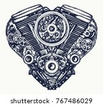 technically mechanical heart... | Shutterstock .eps vector #767486029