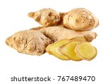 fresh ginger on white... | Shutterstock . vector #767489470