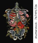 gothic embroidery skeleton ribs ... | Shutterstock .eps vector #767491726