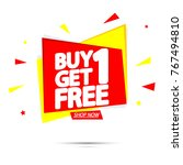 buy 1 get 1 free  sale tag ... | Shutterstock .eps vector #767494810