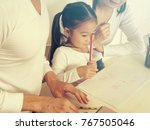 asian kid learning english with ... | Shutterstock . vector #767505046