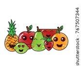 kawaii fruits cartoon character ... | Shutterstock .eps vector #767507344