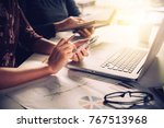 business team working with... | Shutterstock . vector #767513968