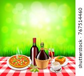 italian food on checkered... | Shutterstock .eps vector #767514460